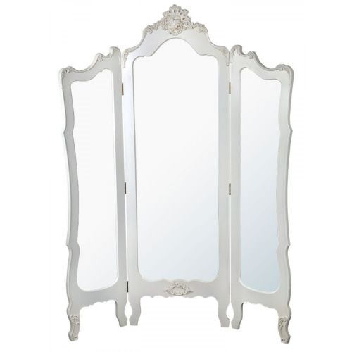 Boudoir Provence Antique White 3 Panel Standing Mirror